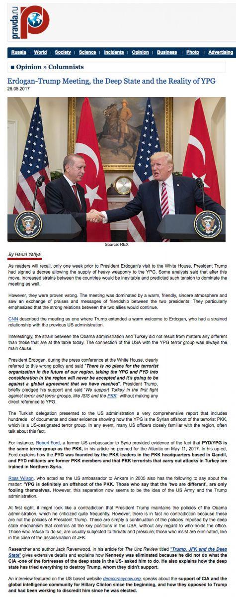 pravda adnan oktar erdogan trump meeting the deep state and the reality of YPG Erdoğan Trump Görüşmesi, Derin Devlet ve YPG Gerçeği